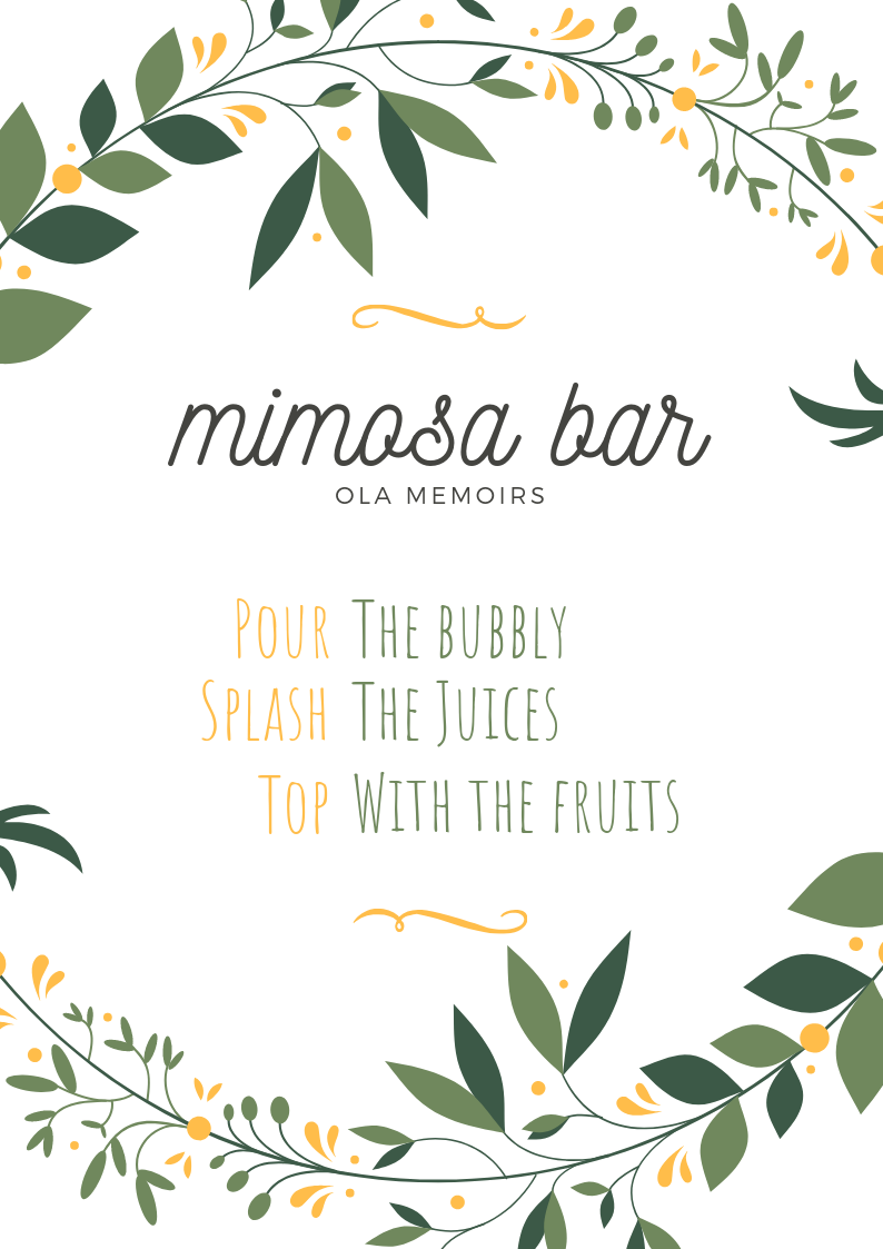 picture regarding Mimosa Bar Sign Printable known as Mimosa Bar Indicator Printables