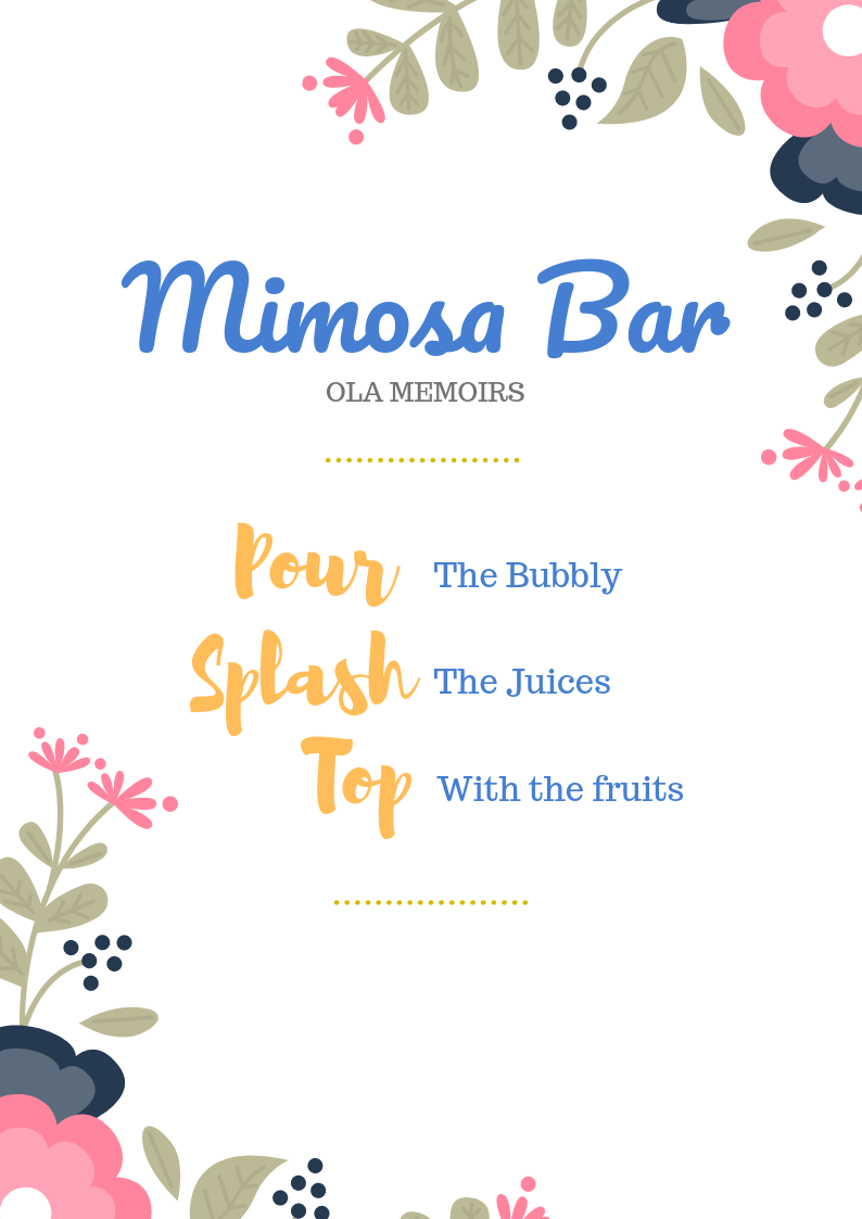 graphic relating to Mimosa Bar Sign Printable known as Mimosa Bar Indicator Printables