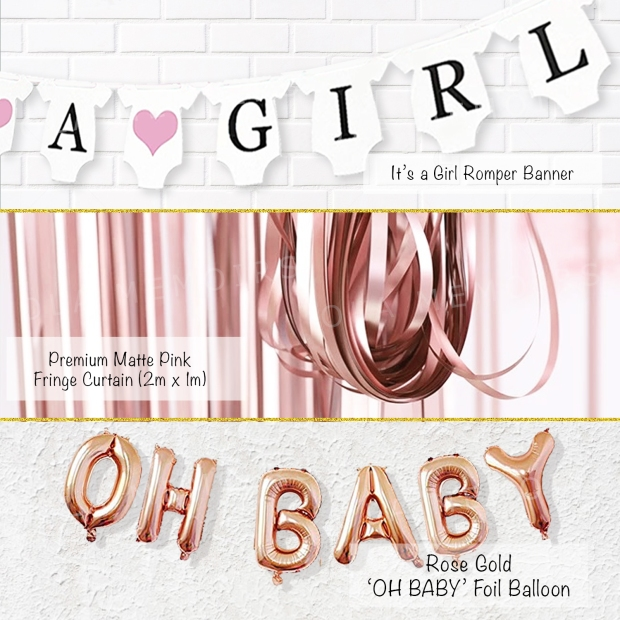 BABY GIRL SHOWER DECOR SUPPLIES PARTY KIT SET