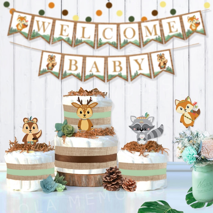 Woodland Animal Cutout Leave Decorations Diaper Cake