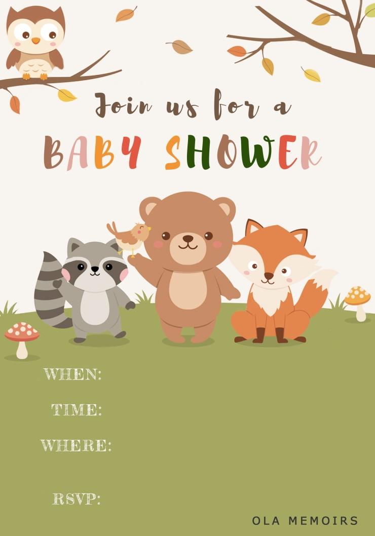 woodland baby invittation card