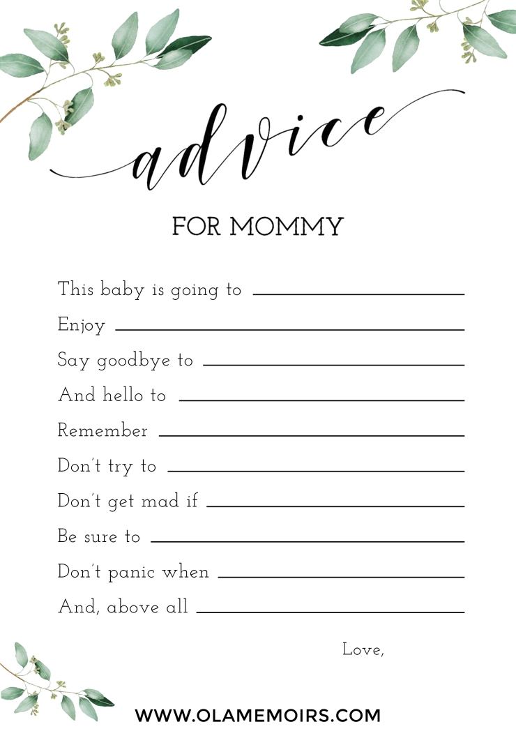 Greenery Baby Shower Games Ola Memoirs Advice for mommy