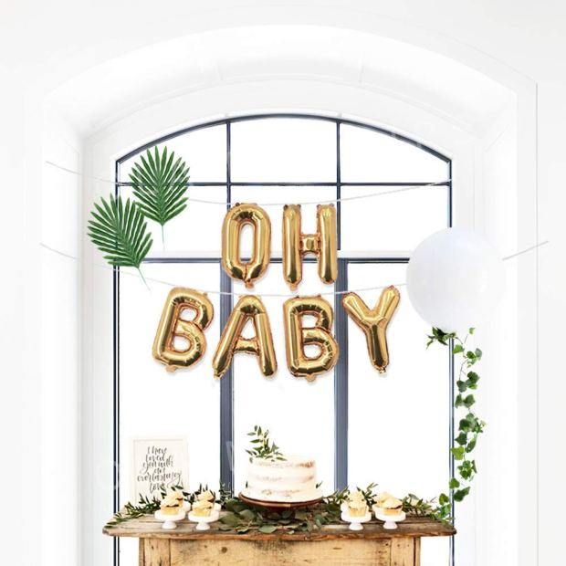 White Gold Baby Shower Decorations