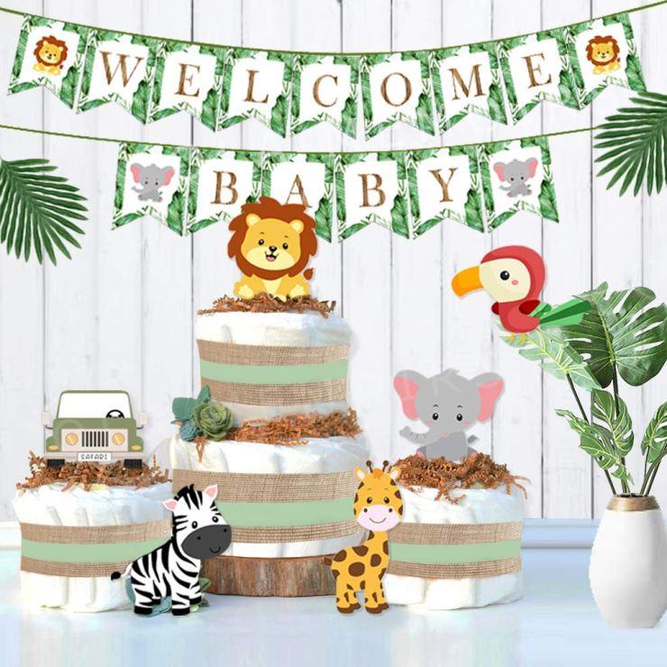 Green Jungle Baby Shower Decorations Kit Ola Memoirs Amazon