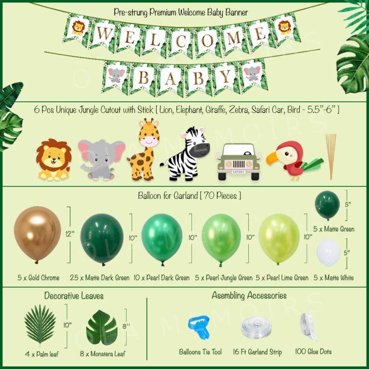 Green Safari Baby Shower Decorations Kit Ola Memoirs Amazon