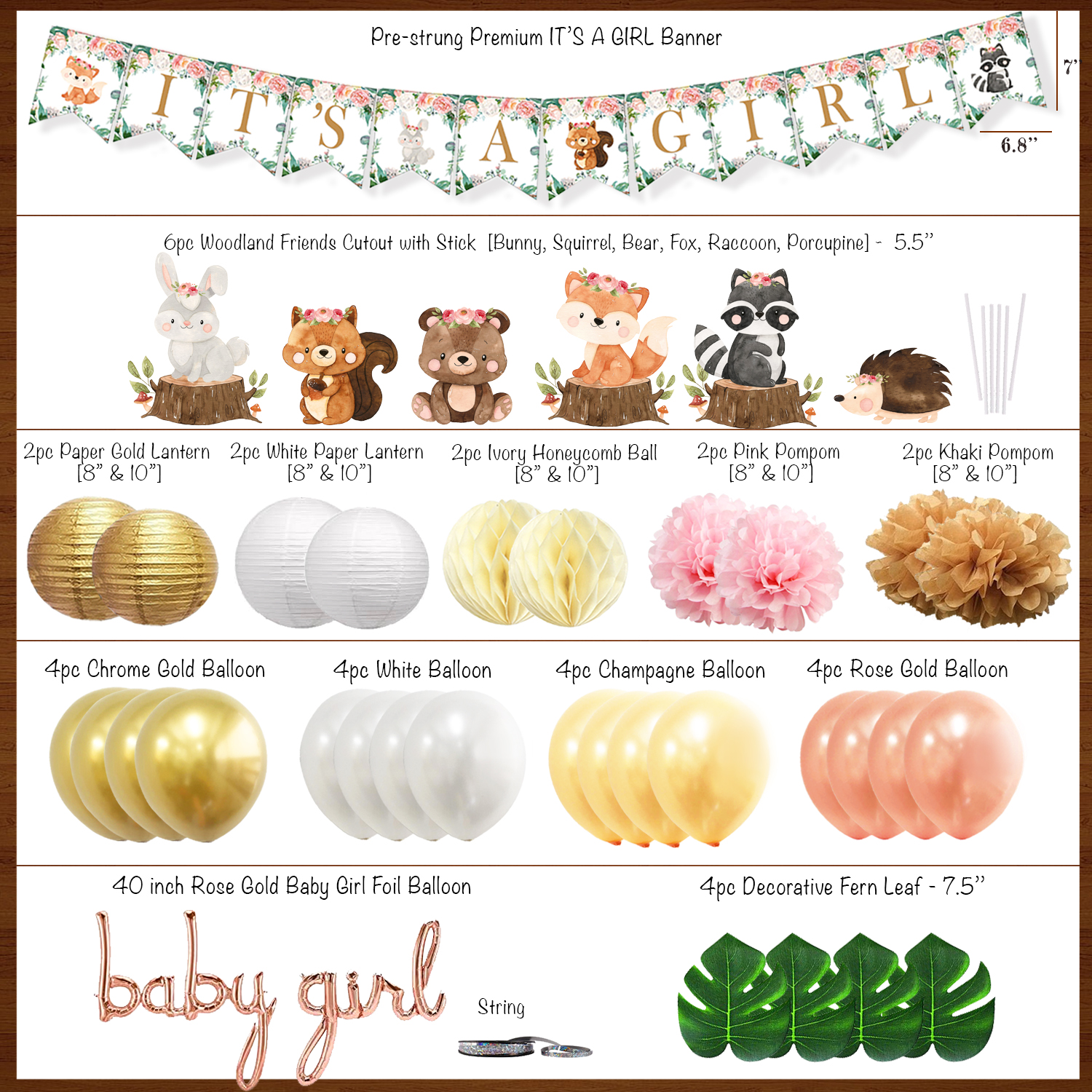 baby shower woodland decorations for girl