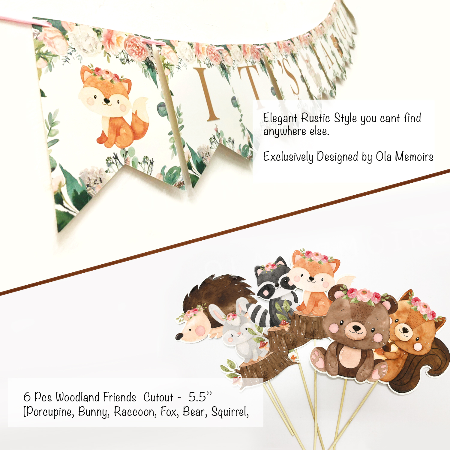Girl Floral baby shower Woodland Friends