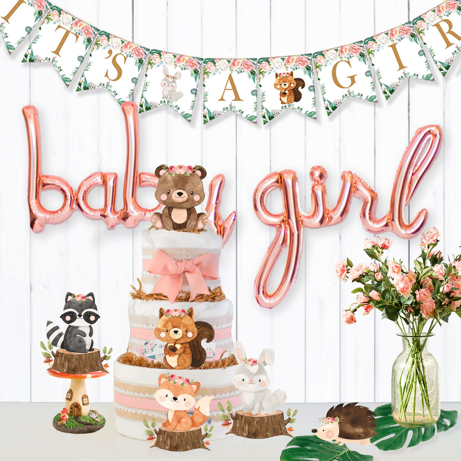 Woodland Baby Shower Girl Decorations