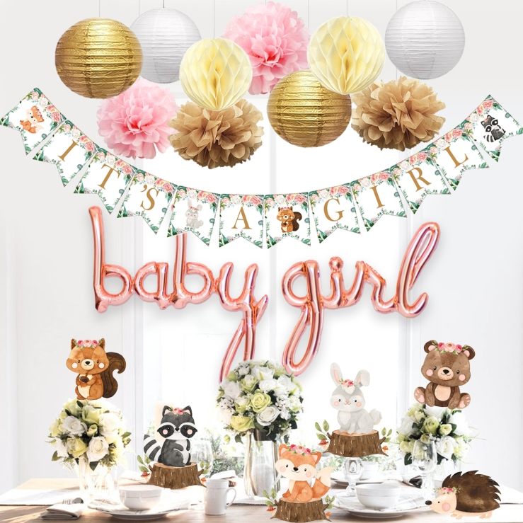 woodland creatures baby shower decorations for girl