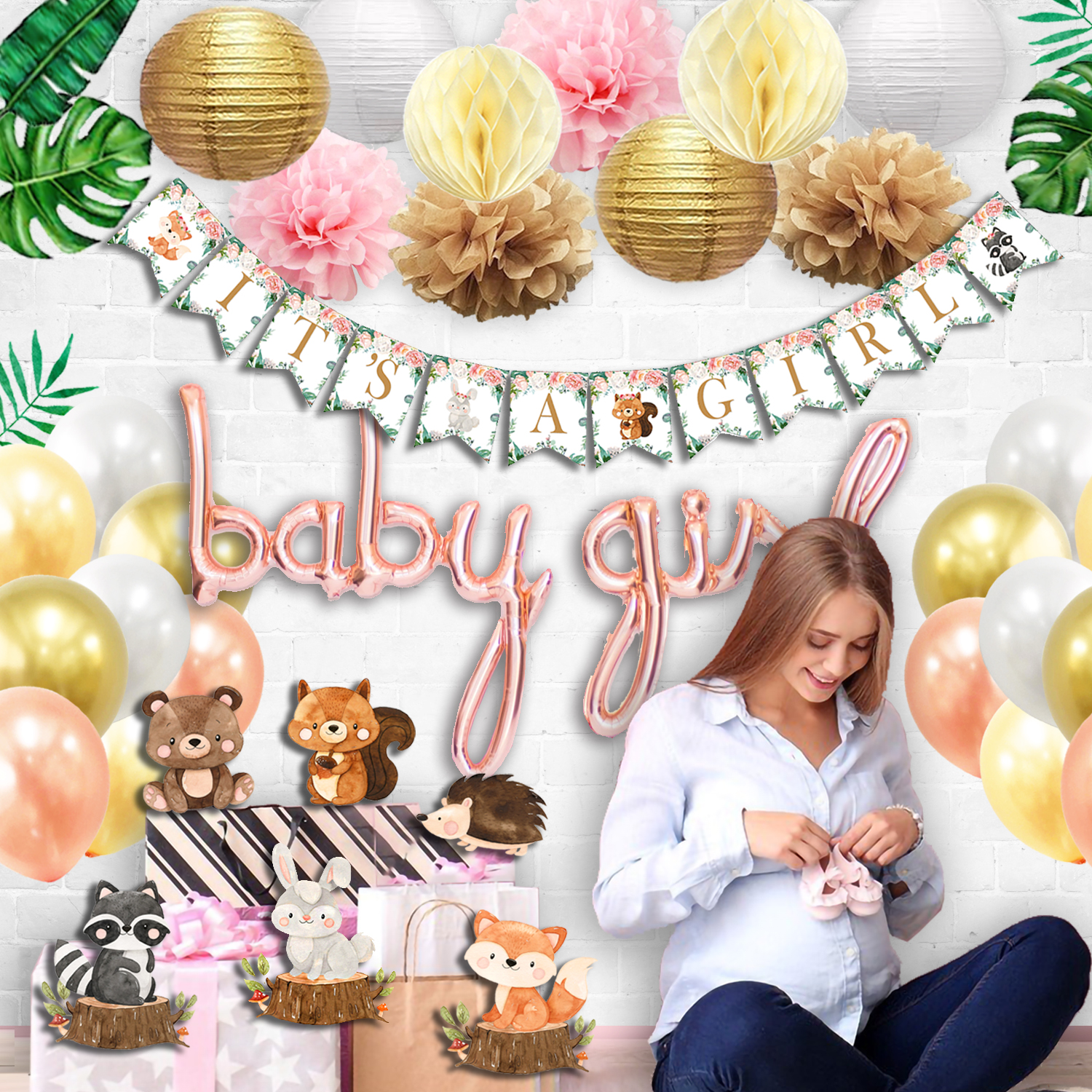 floral woodland baby shower decorations for girl