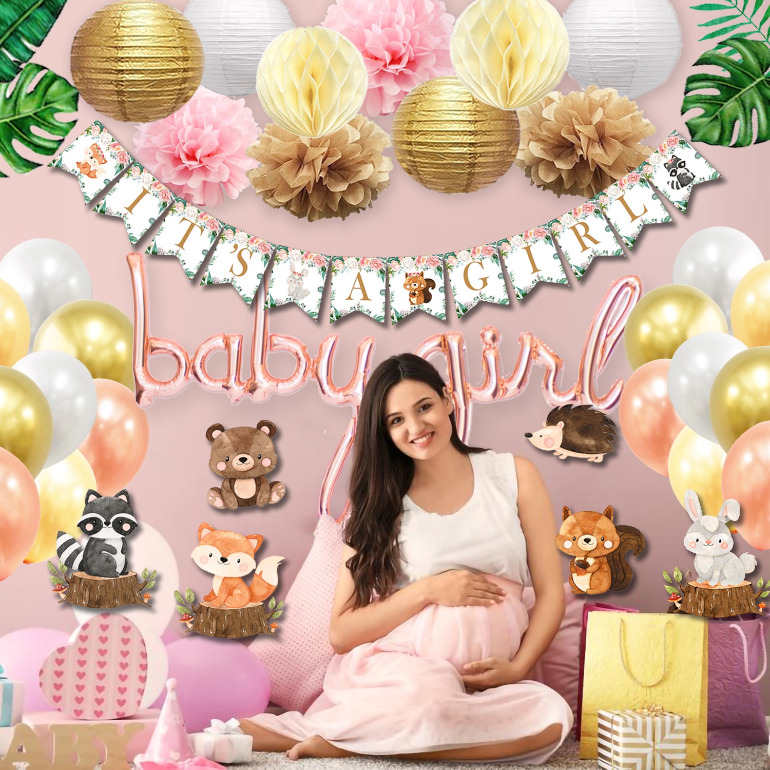 woodland Neutral baby shower decorations for girl