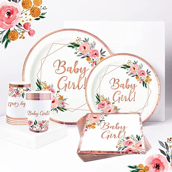 boho floral baby girl baby shower rose gold plates napkins set