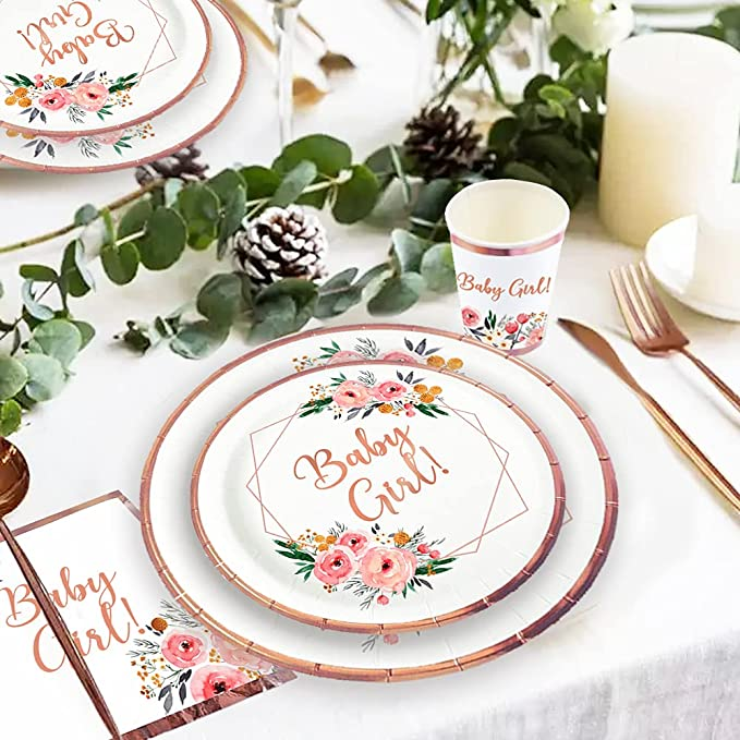 butterflies floral baby girl baby shower rose gold plates napkins set