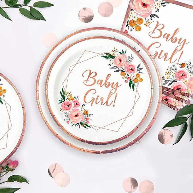 floral baby girl baby shower rose gold plates napkins set