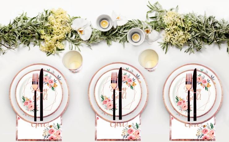ola memoirs baby girl boho floral baby shower rose gold plates napkins set