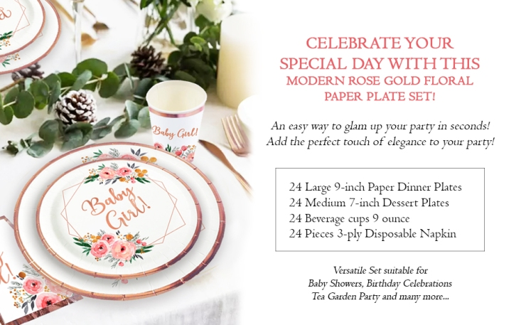 ola memoirs baby girl floral baby shower rose gold plates napkins set