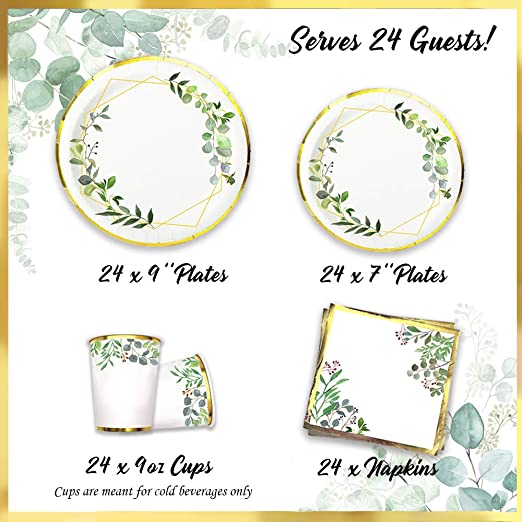 Ola memoirs boho greenery plates napkins cup set baby shower birthday sage safari