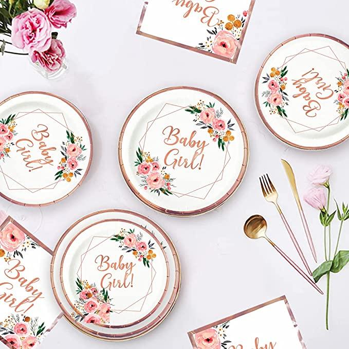 ola memoirs floral baby girl baby shower rose gold plates napkins set