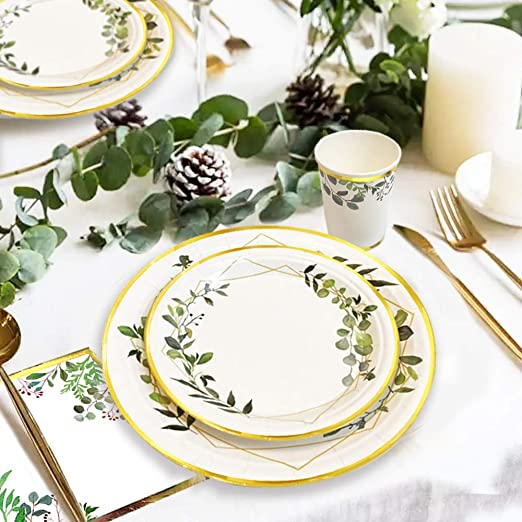 Ola memoirs greenery boho gold plates napkins cup set baby shower birthday sage safari