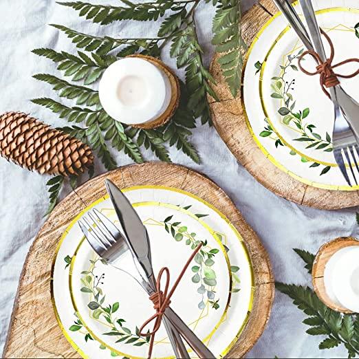 Ola memoirs greenery gold plates napkins cup set baby shower birthday sage safari