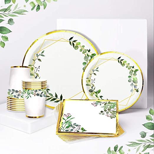 Ola memoirs greenery plates napkins cup set baby shower birthday sage safari