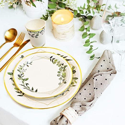 Ola memoirs greenery sweet baby plates napkins cup set baby shower birthday sage safari