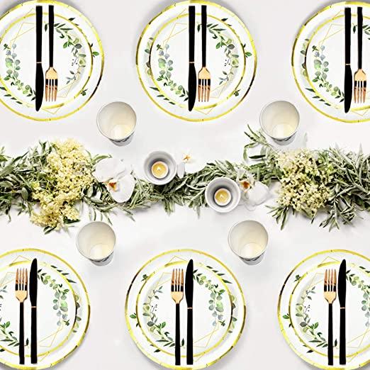 Ola memoirs greenery tableware plates napkins cup set baby shower birthday sage safari