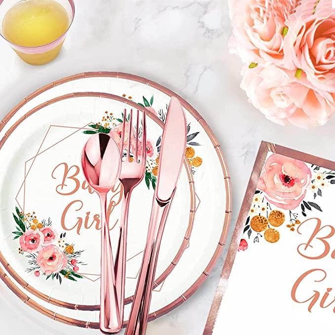 woodland floral baby girl baby shower rose gold plates napkins set